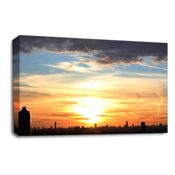 Skyline Sunset Canvas Wall Art Picture Orange Golden Sky Print